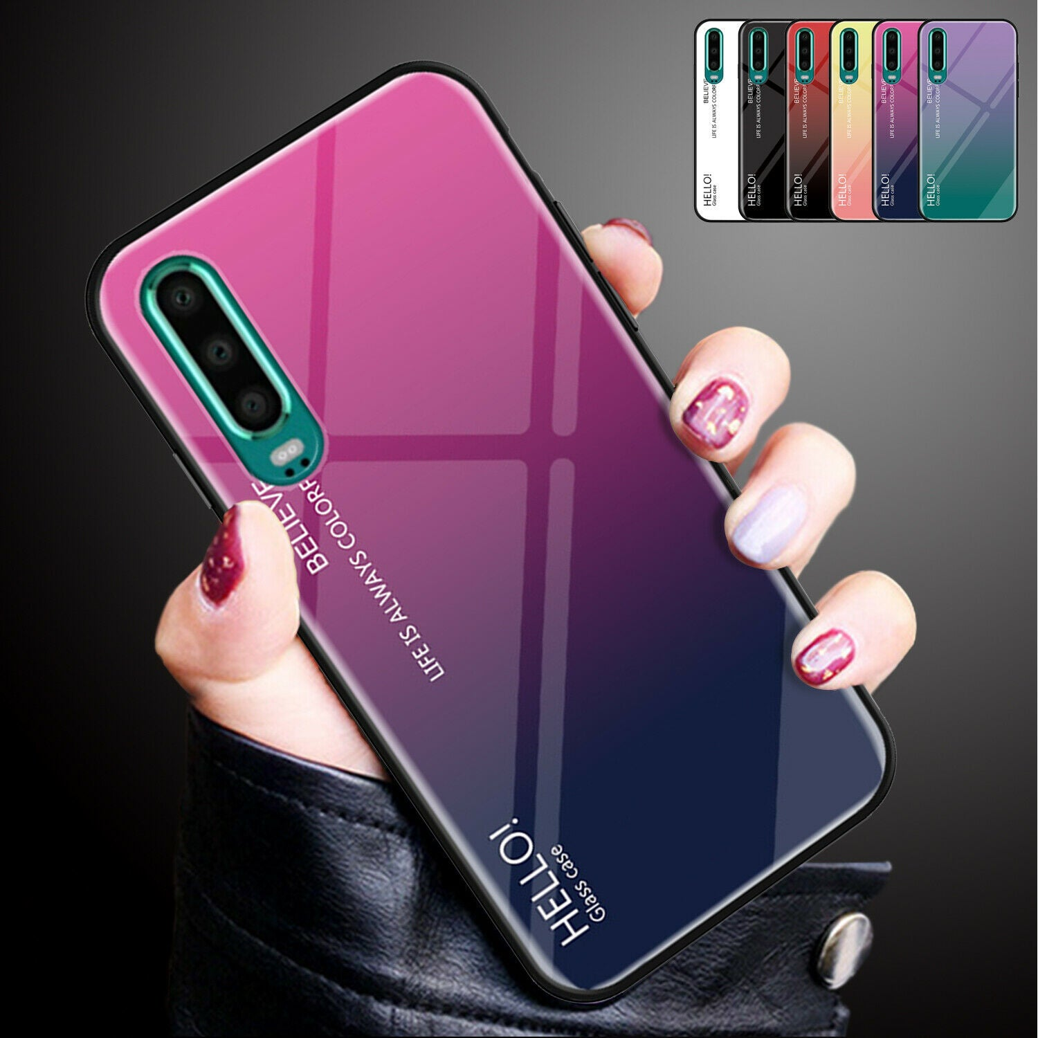 For Huawei Nova 3i Case Shockproof Tempered Glass Bumper Slim Cover-Rose