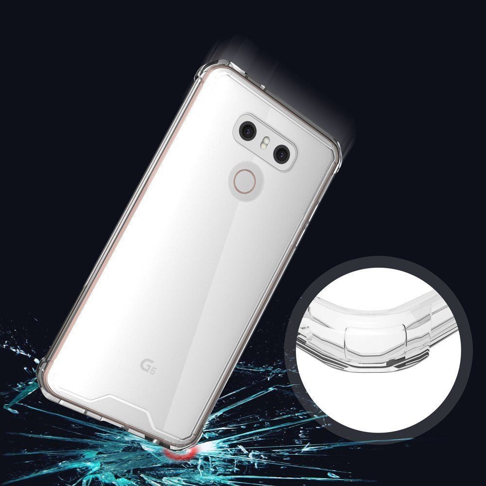 LG G6 Case Cover, TAGGSHIELD Slim Shock Absorbing TPU Crystal Clear Bumper Case