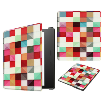 For New Amazon All New Kindle 2019 Painting Leather Smart Cover--Grid