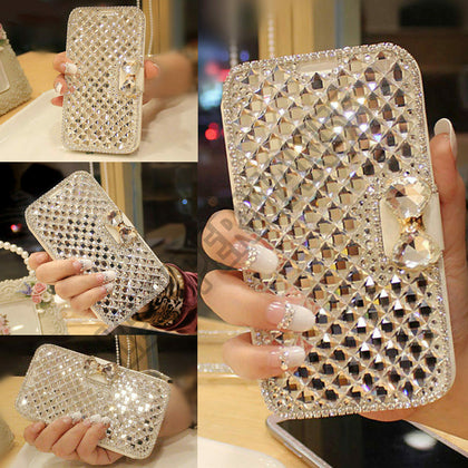 Samsung S8 Bling Crystal Diamond Leather Flip Stand wallet Case