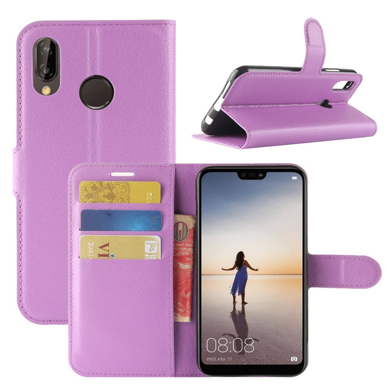 New Premium Leather Wallet Case TPU Cover For HUAWEI Nova 3e-Purple