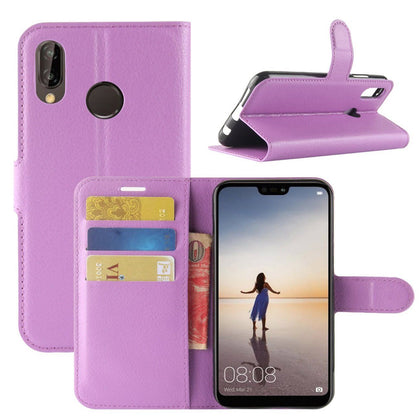 New Premium Leather Wallet Case TPU Cover For HUAWEI Nova 3i-Purple