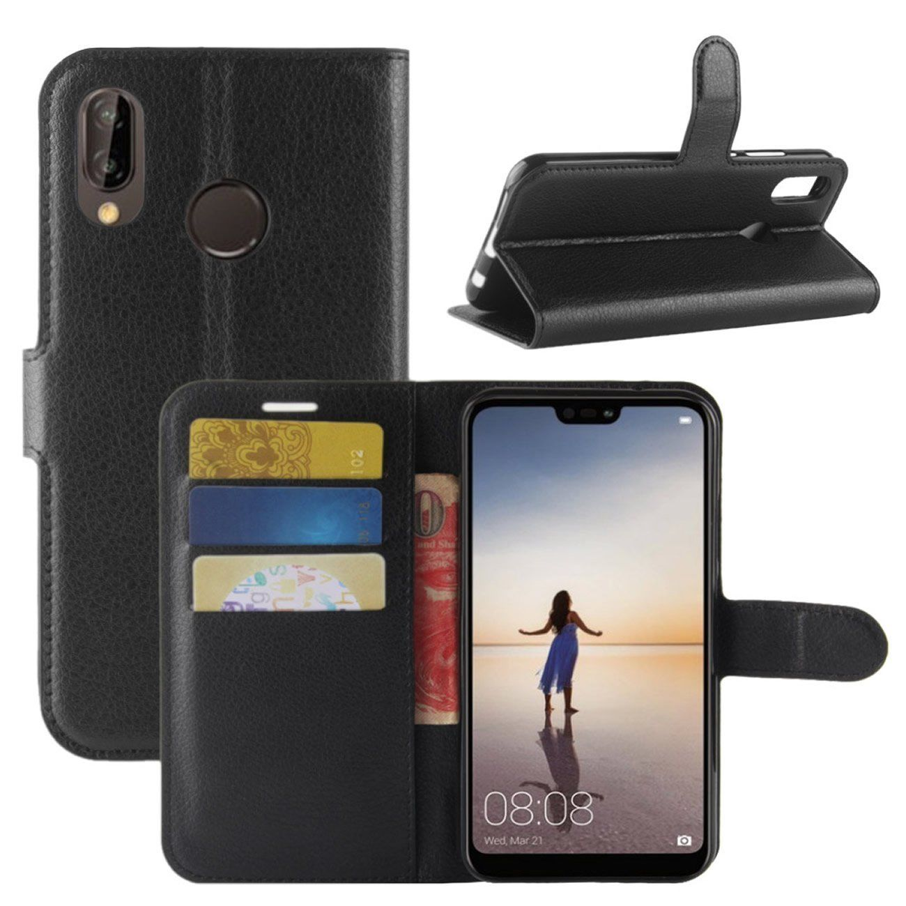 New Premium Leather Wallet Case TPU Cover For HUAWEI Nova 3e-Black