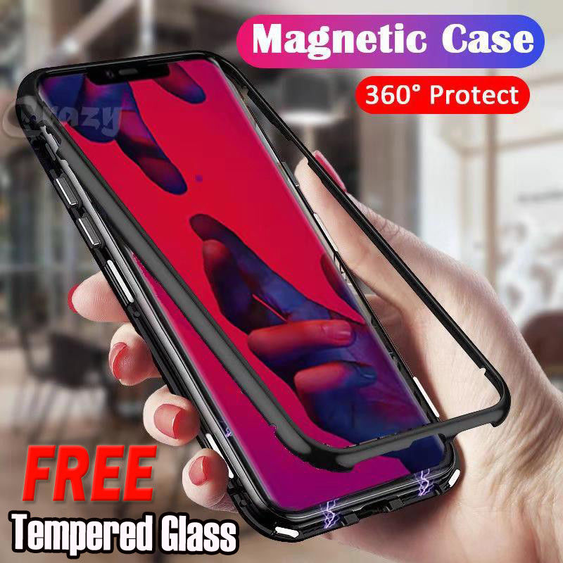 For Huawei Nova 3i Magnetic Metal Tempered Glass Case Cover