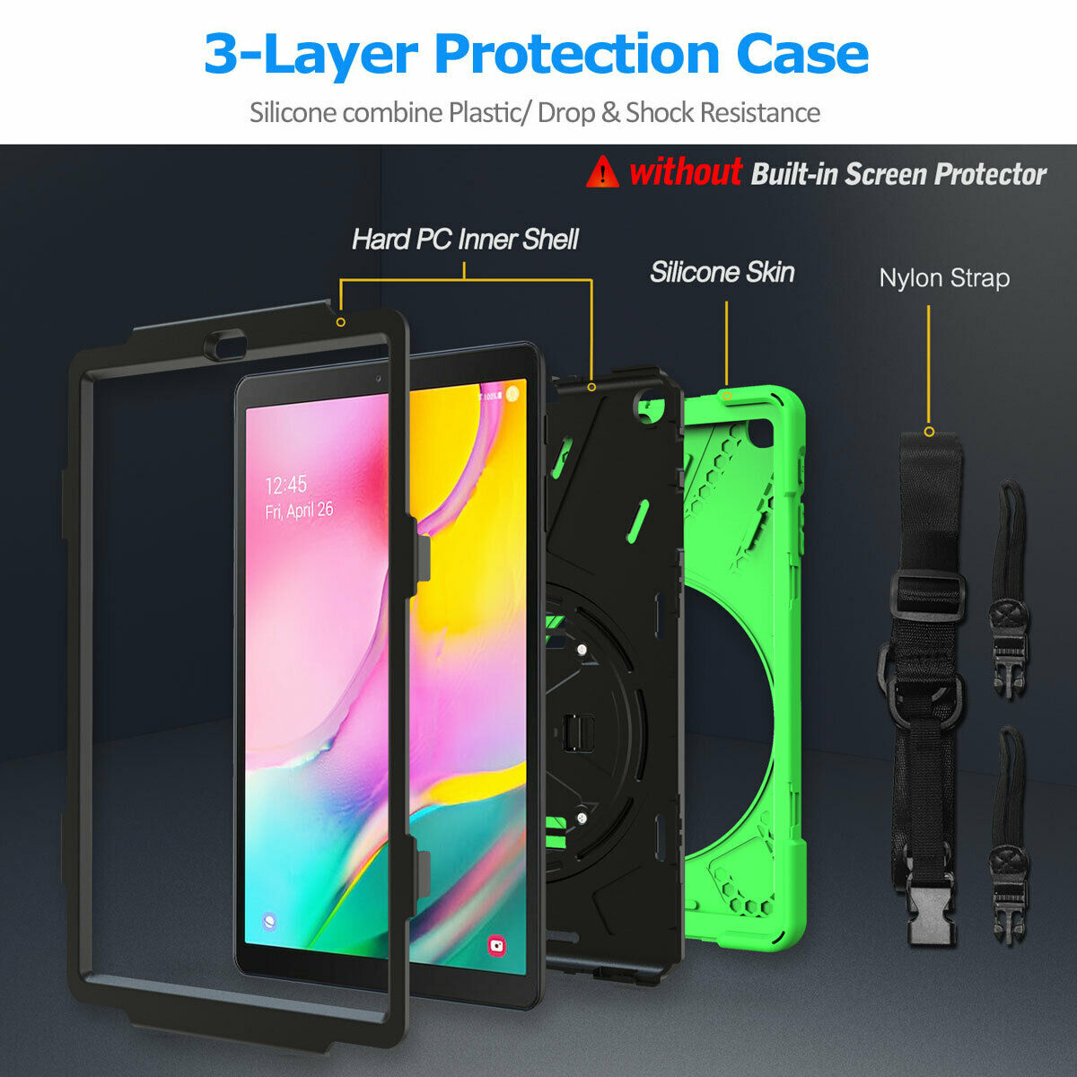 For Samsung Tab A 10.1 SM-T510 T515 2019 Tablet Shockproof Rotating Stand Case-8 Colors