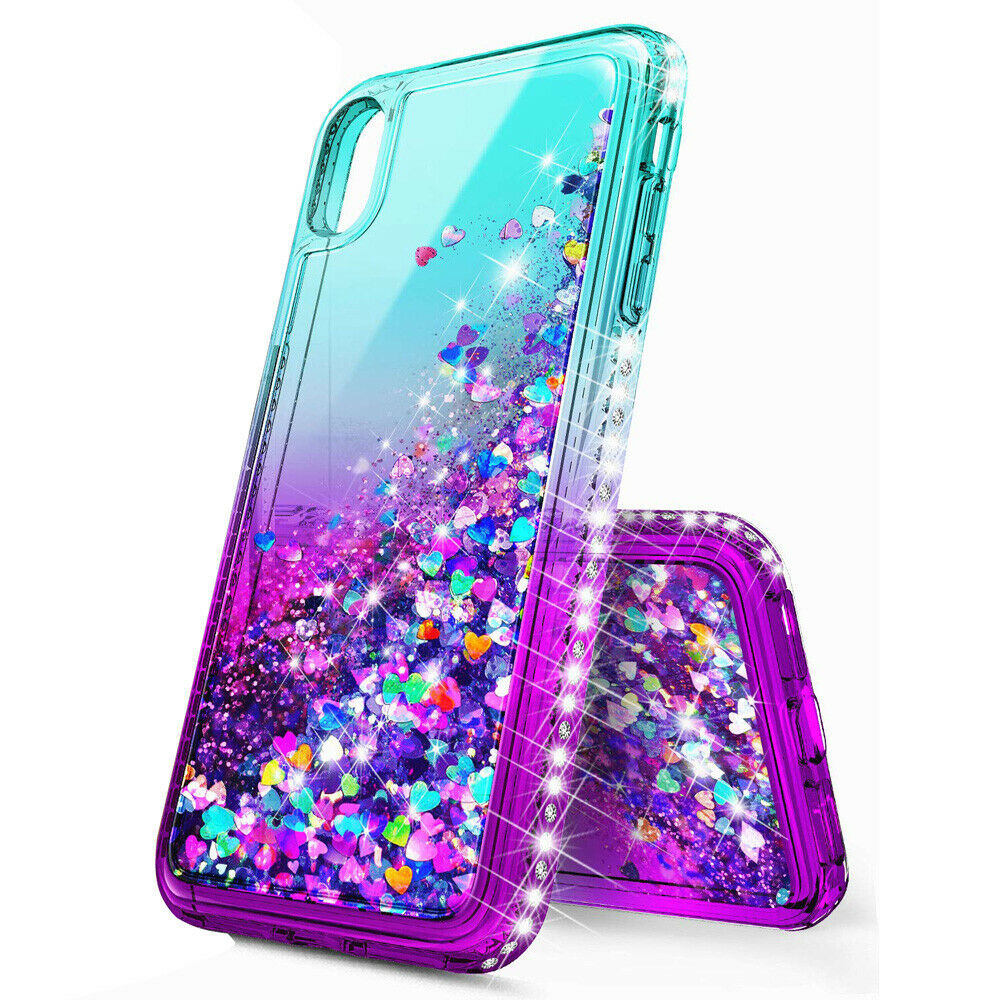 Bling Dynamic Glitter Moving Quicksand Liquid Case Cover For iPhone Xs Max