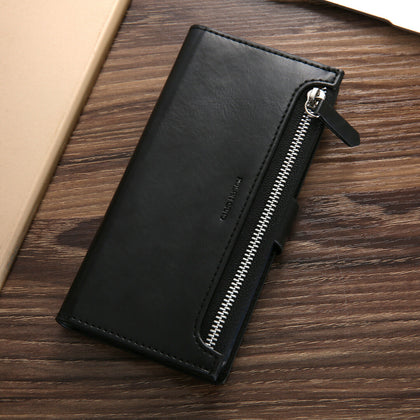 Samsung Galaxy S10 Zipper Leather Wallet Card Magnetic Case Cover-Black