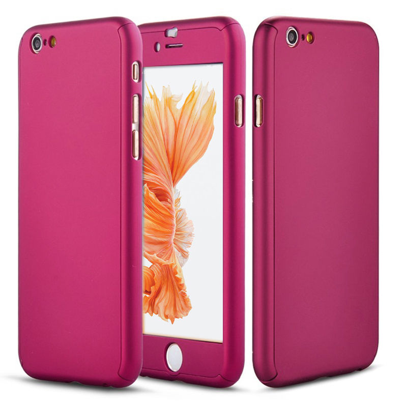 iPhone 6 Full Body Shockproof Case Cover + Tempered Glass-Rose Gold