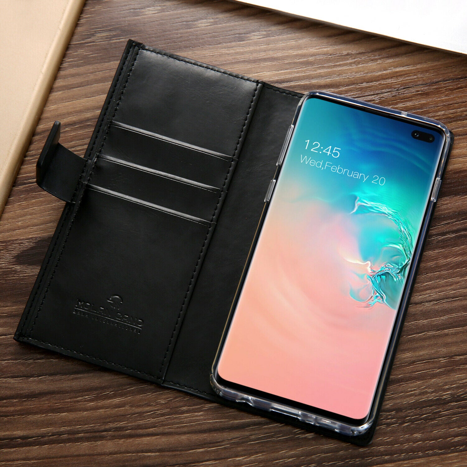 Samsung Galaxy S10 Plus Zipper Leather Wallet Card Magnetic Case Cover-Brown