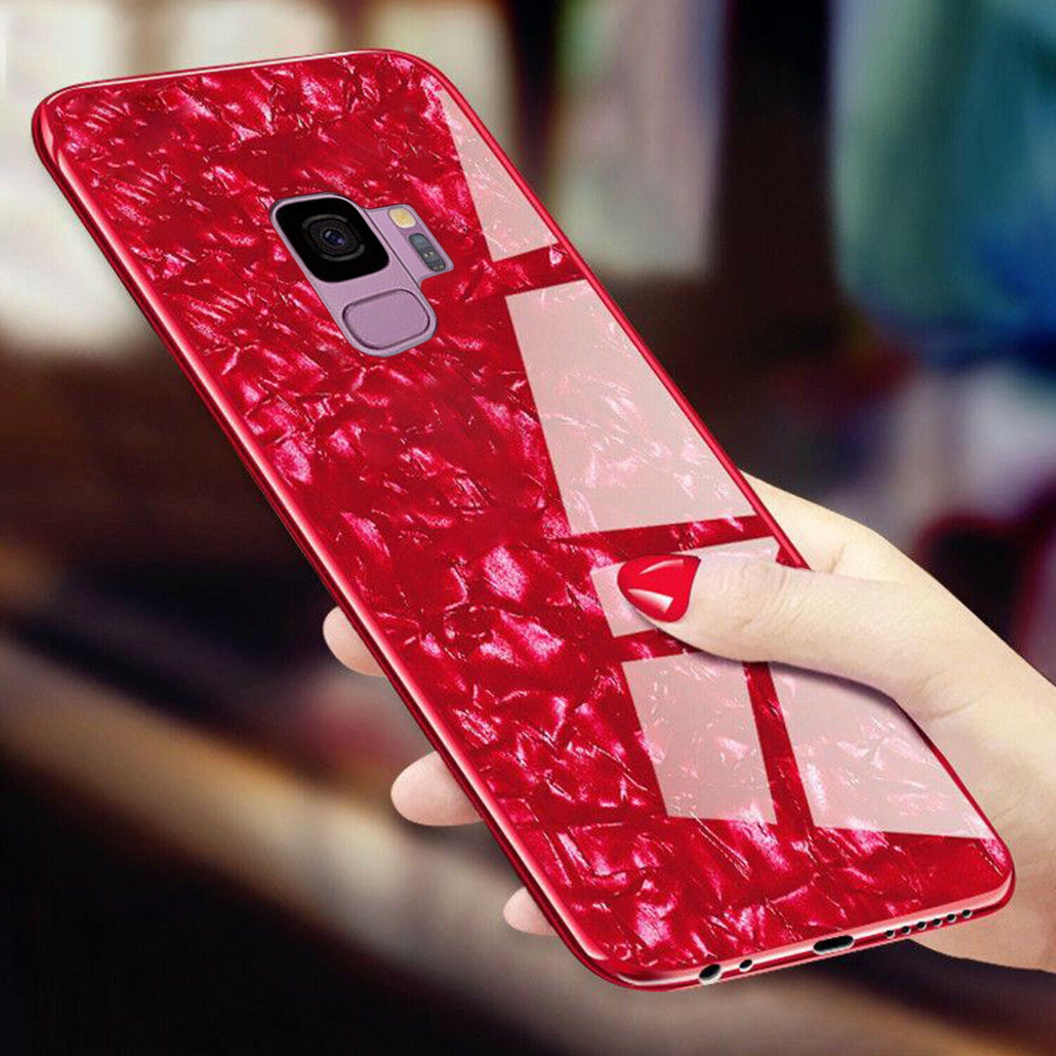 For Samsung Note 9 Case Luxury Tempered Glass Back Shockproof Cover-Red