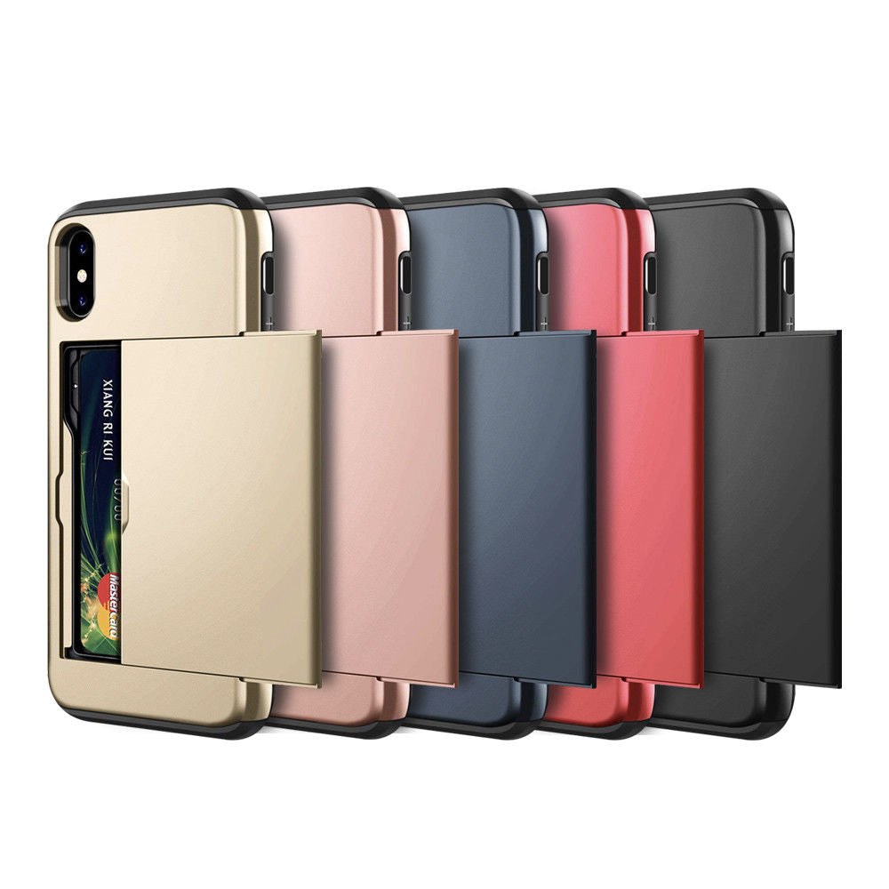 iPhone XS Case Slide Armor Wallet Card Slots Holder Cover for Apple-RoseGold