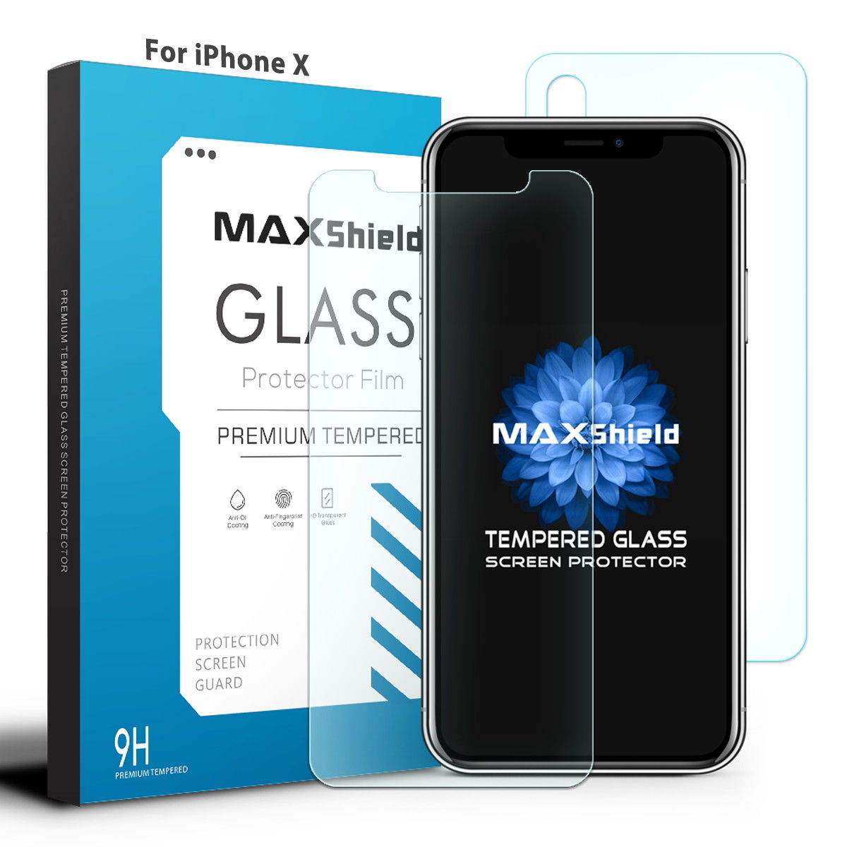 MAXSHIELD iPhone X Front+Back Tempered Glass Screen Protector Cover