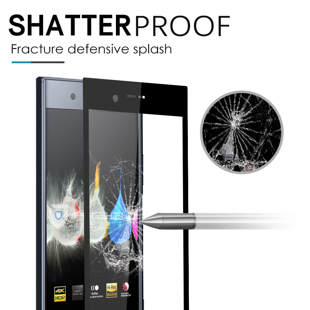 FullCoverage Tempered Glass Screen Protector for Sony Xperia XZ (Black)