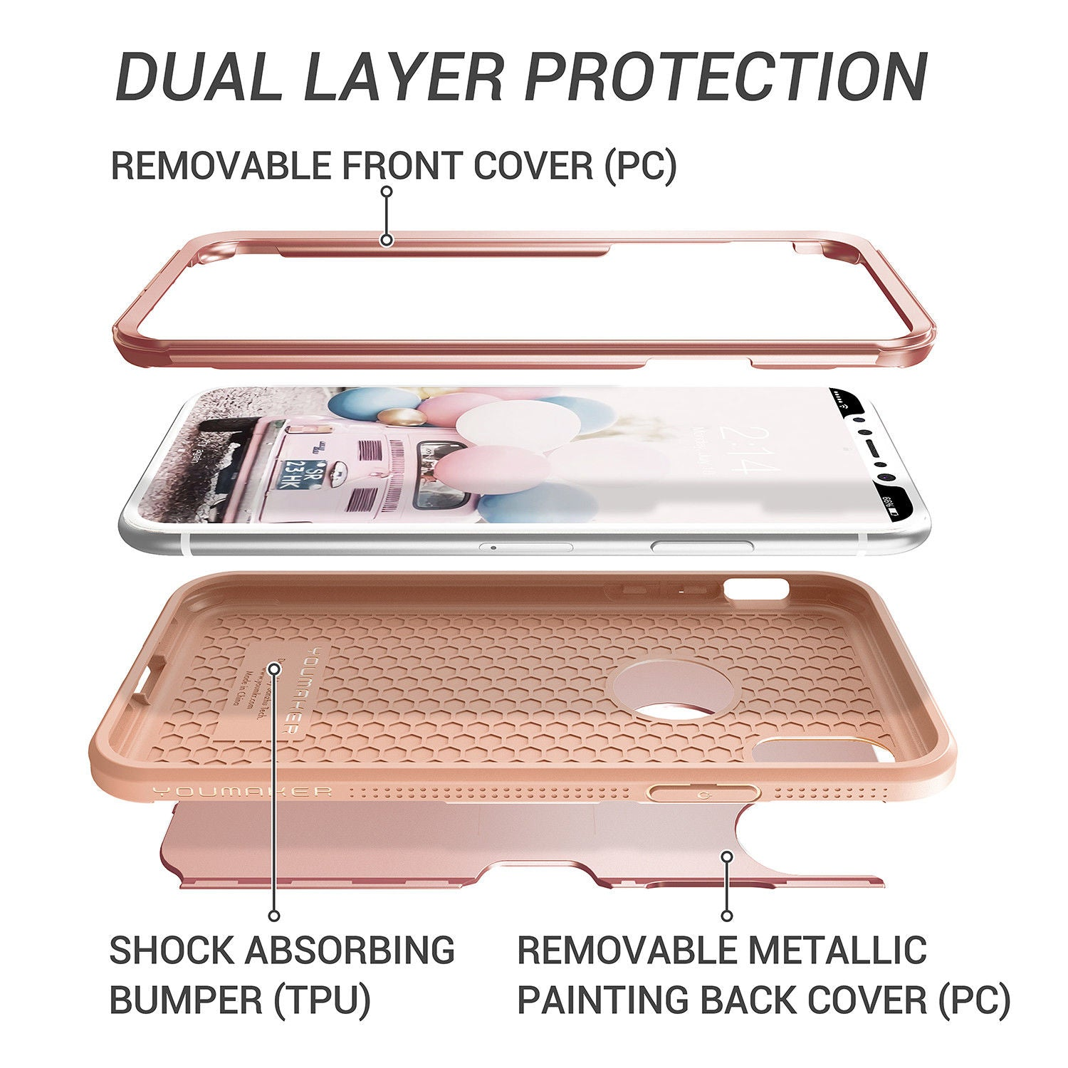 YOUMAKER® Apple iPhone X Slim HEAVY DUTY Shockproof KickStand Case Cover (Rose Gold)
