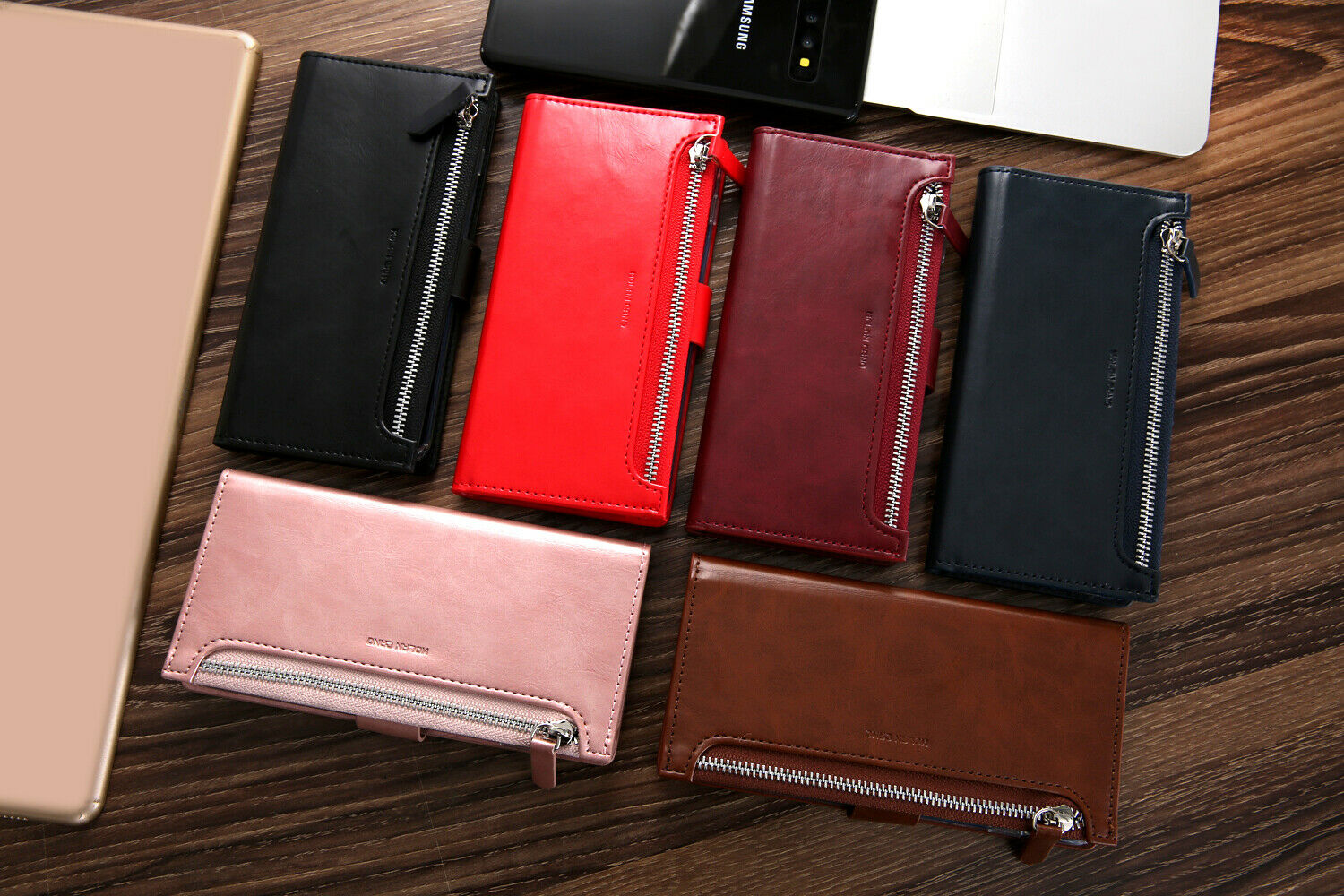 Samsung Galaxy S10 Plus Zipper Leather Wallet Card Magnetic Case Cover-Wine
