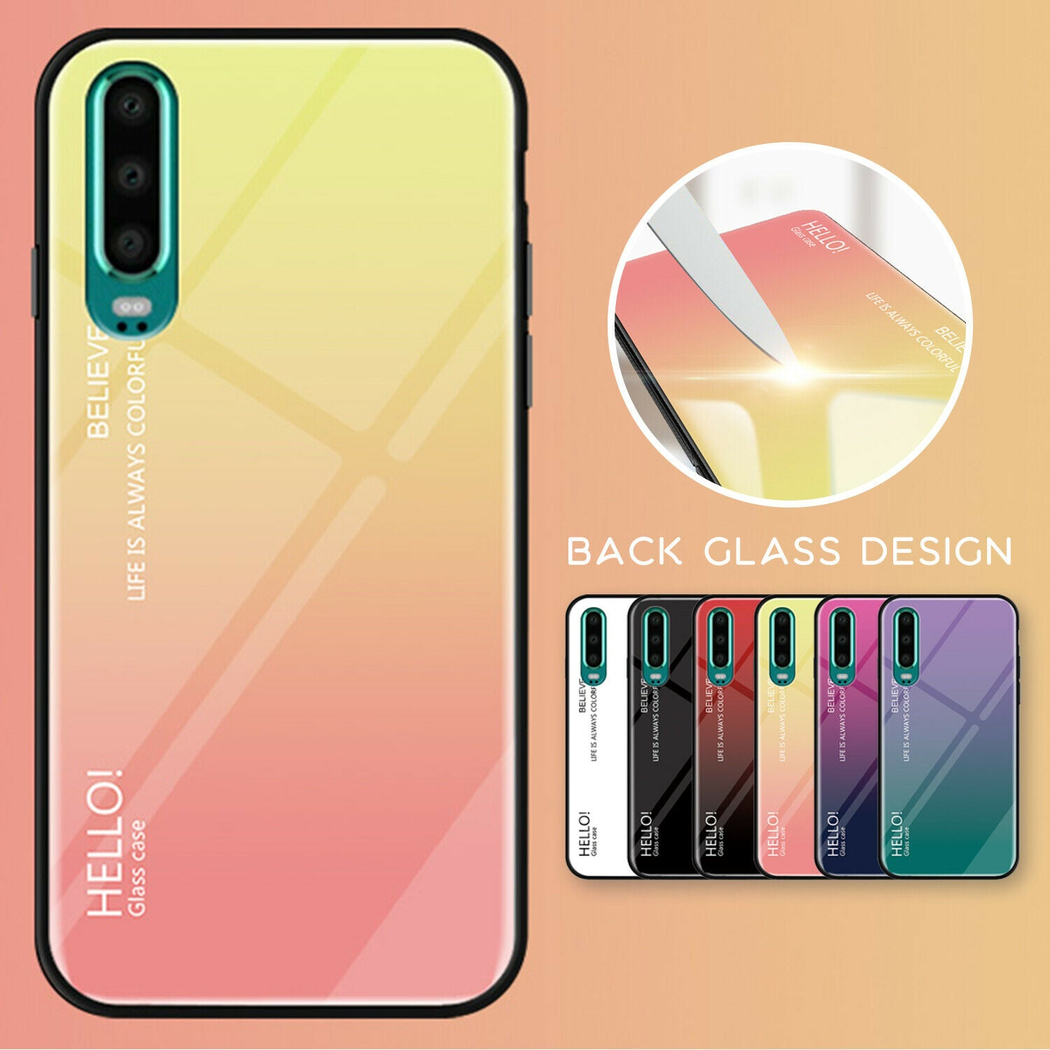For Huawei Nova 3e Case Shockproof Tempered Glass Bumper Slim Cover-Yellow