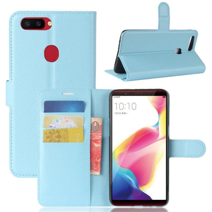 Oppo R15 Pro Premium Leather Wallet Case Cover For Oppo Case-Sky Blue