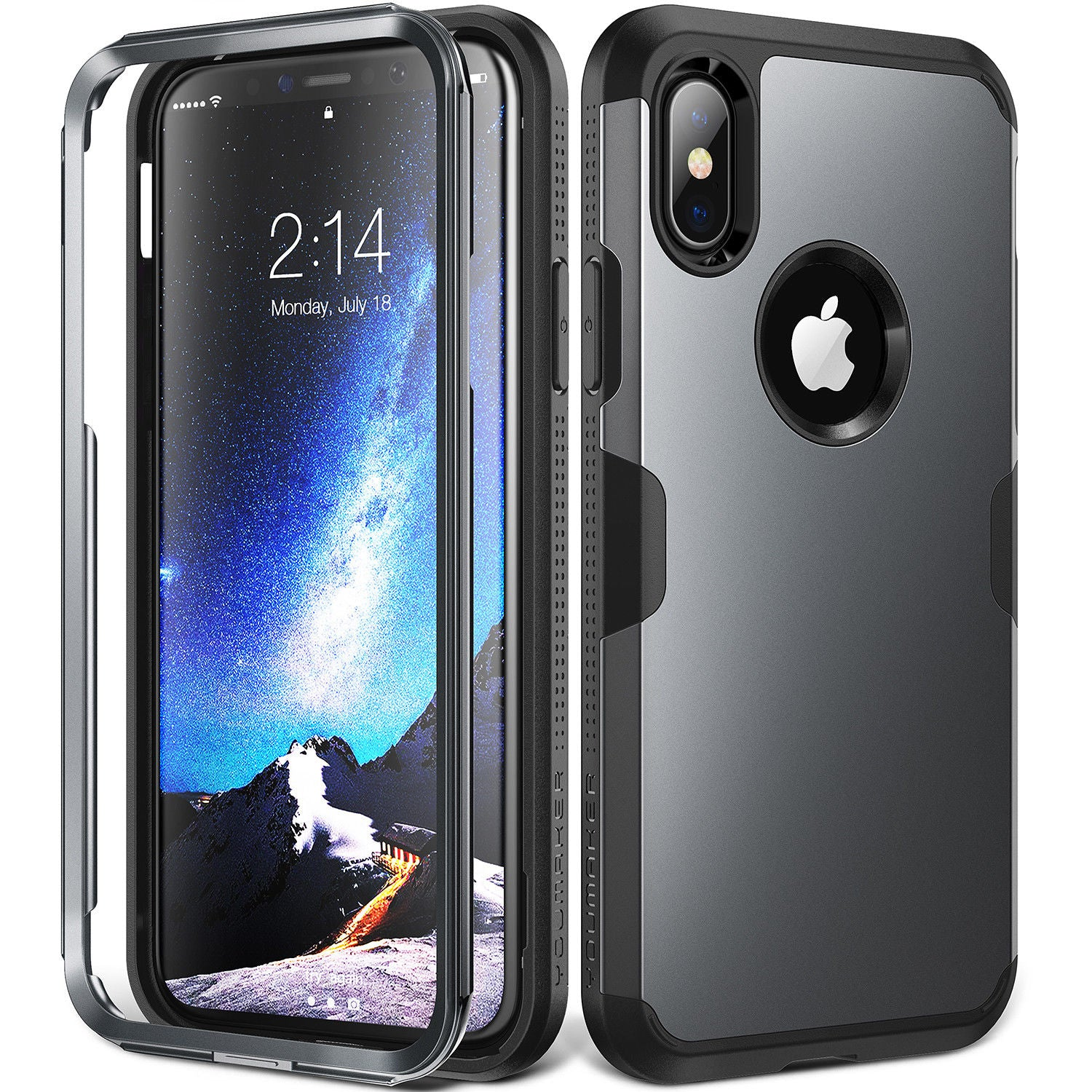 YOUMAKER® Apple iPhone X Slim HEAVY DUTY Shockproof KickStand Case Cover (Metallic Black)
