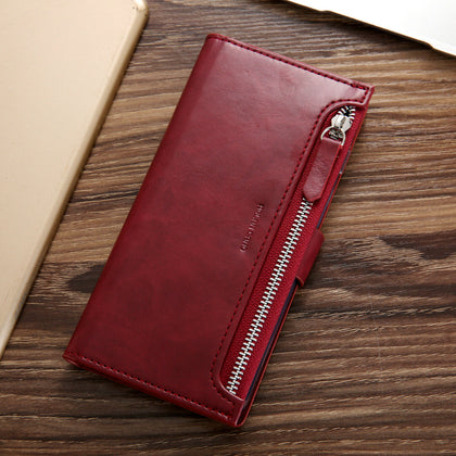 Samsung Galaxy S10 Zipper Leather Wallet Card Magnetic Case Cover-Wine