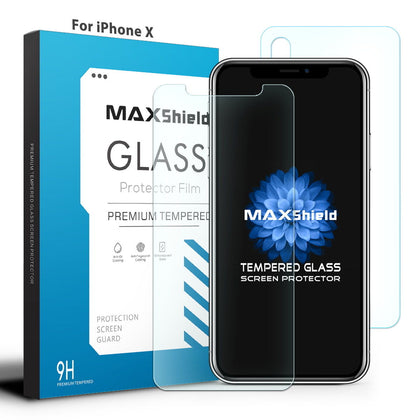 MAXSHIELD iPhone 8 Front+Back Tempered Glass Screen Protector Cover