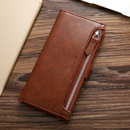 Samsung Galaxy S10 Zipper Leather Wallet Card Magnetic Case Cover-Brown