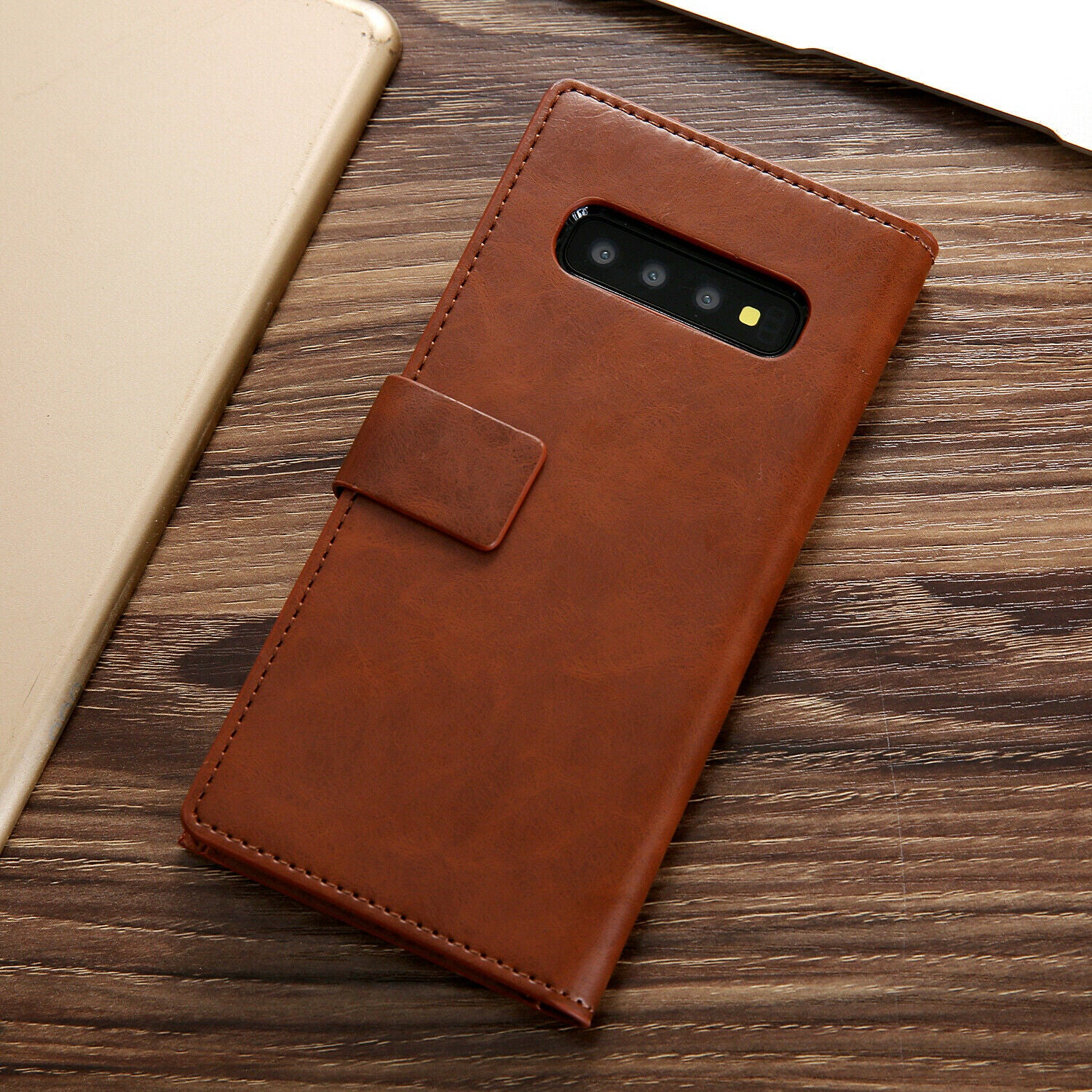 Samsung Galaxy S8 Zipper Leather Wallet Card Magnetic Case Cover-Brown