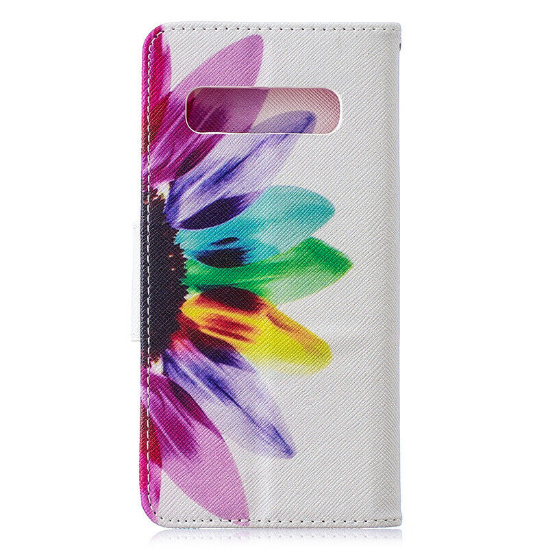 For Samsung Galaxy S10 Patterned Flip Leather Wallet Stand Case Cover-Sunflower