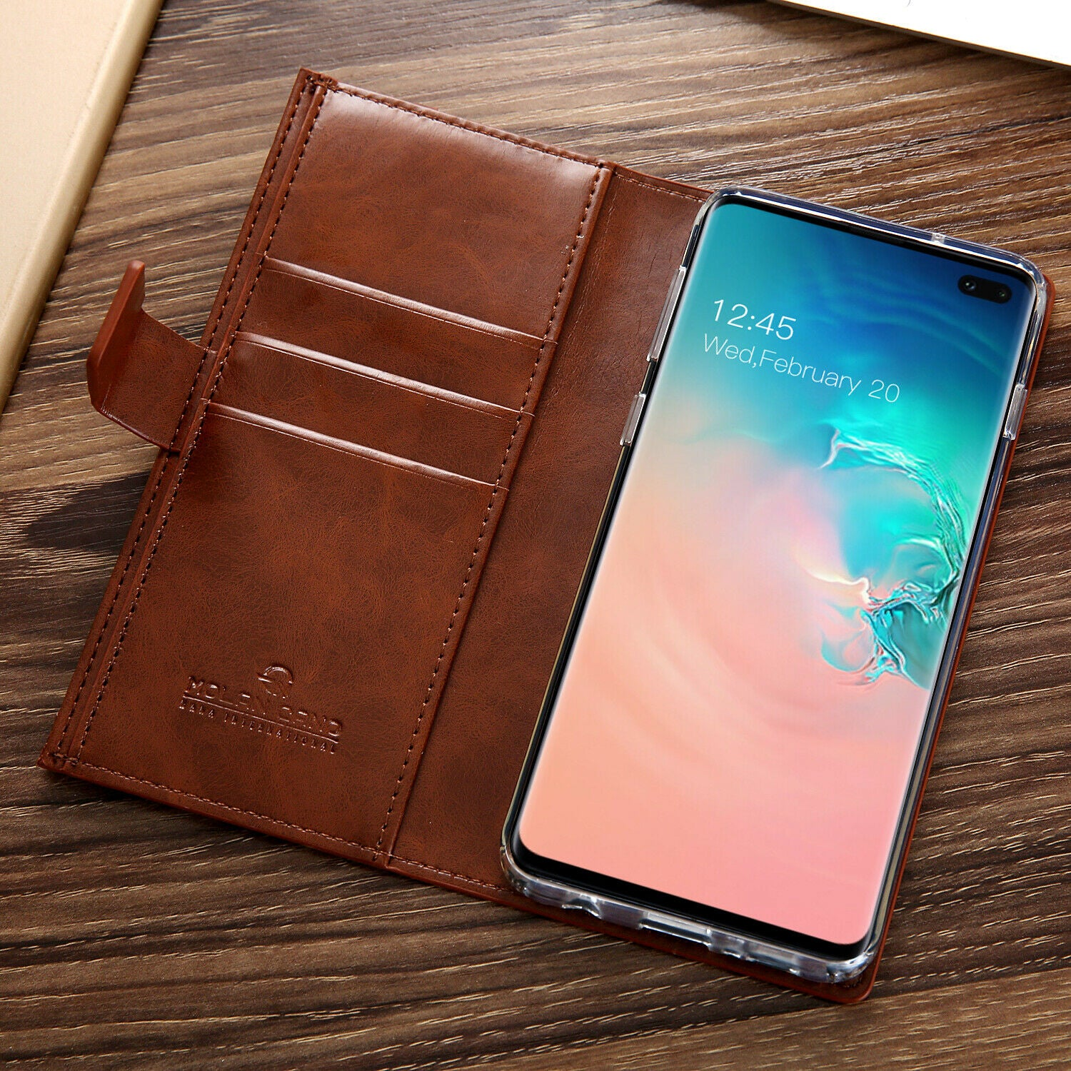 Samsung Galaxy S10 Plus Zipper Leather Wallet Card Magnetic Case Cover-Black