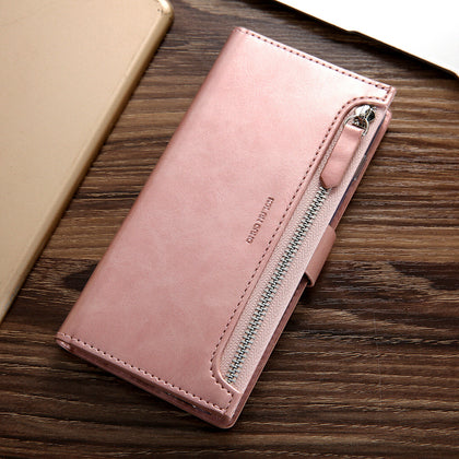 Samsung Galaxy S10 Zipper Leather Wallet Card Magnetic Case Cover-Rose Gold