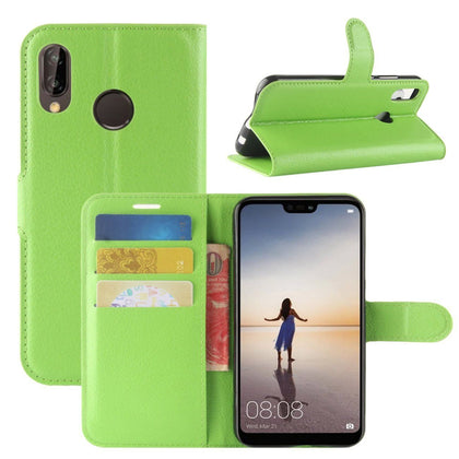New Premium Leather Wallet Case TPU Cover For HUAWEI Nova 3i-Green