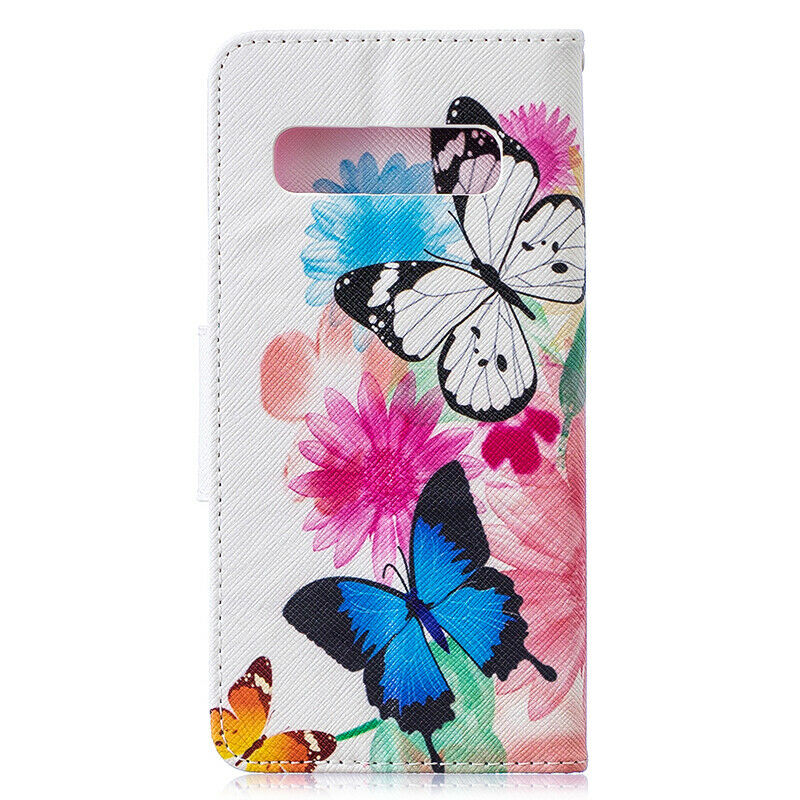 For Samsung Galaxy S10 Patterned Flip Leather Wallet Stand Case Cover-Two Butterflies