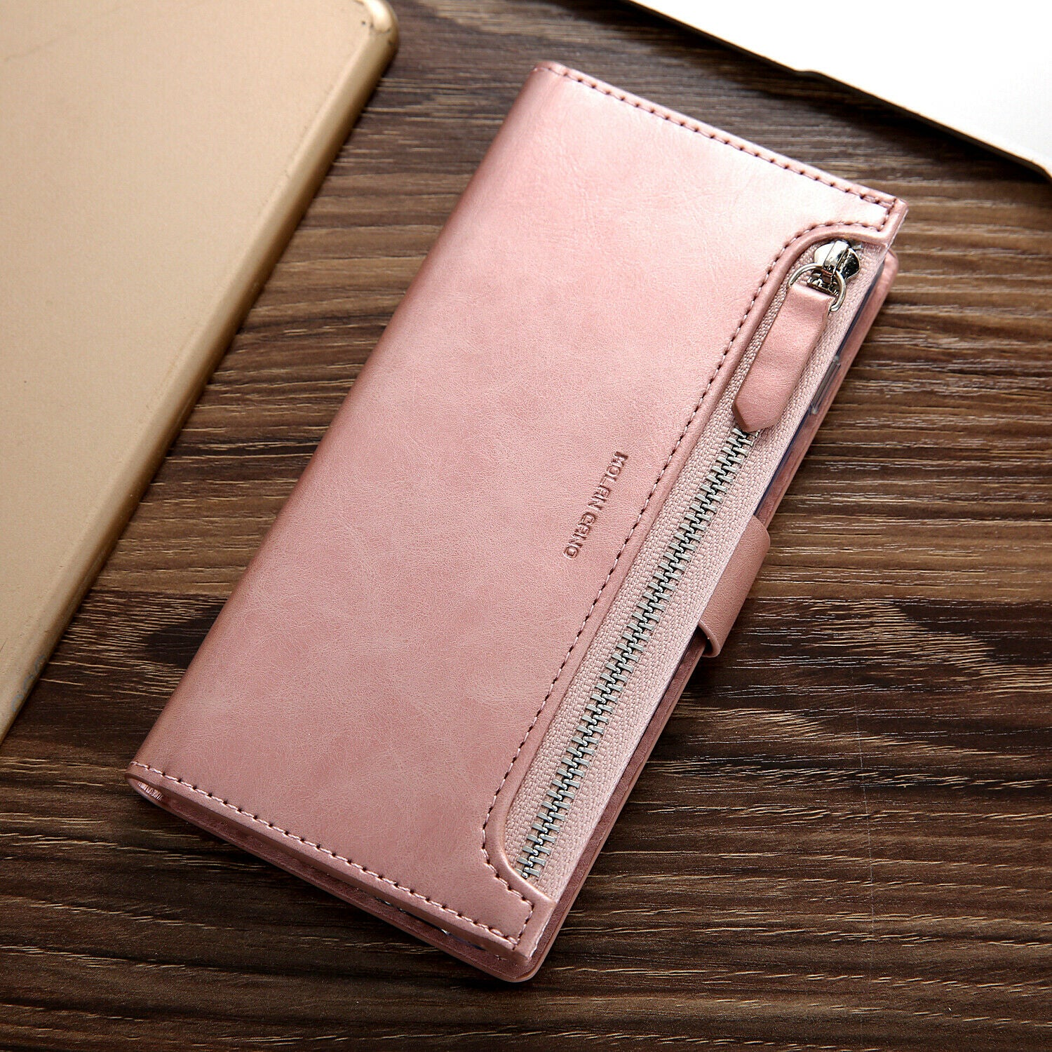 Samsung Galaxy S8 Plus Zipper Leather Wallet Card Magnetic Case Cover-Rose Gold