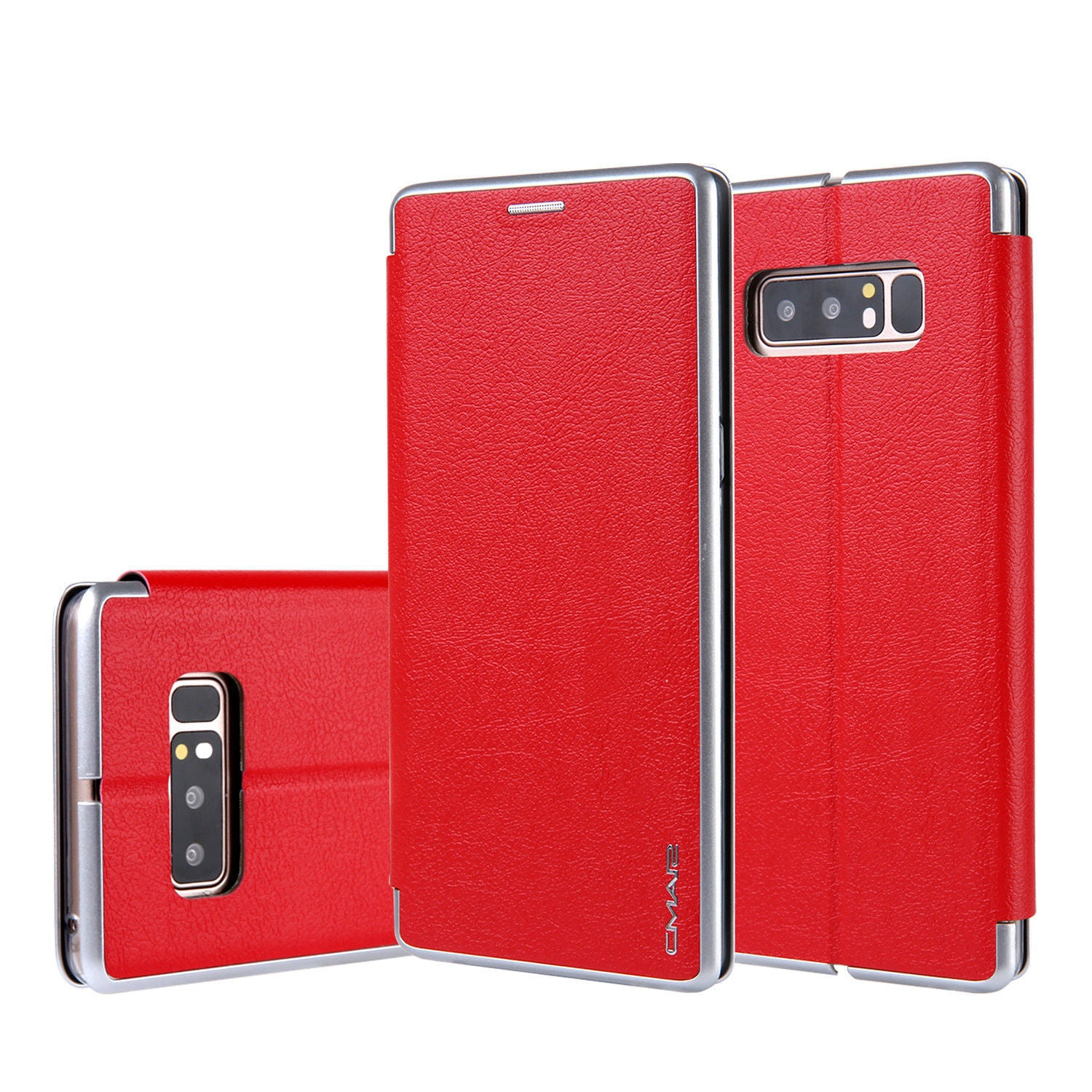 Samsung Galaxy S10 Flip Leather Wallet Card Magnetic Case Cover-Red