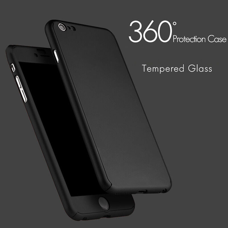 iPhone 6 Plus Full Body Shockproof Case Cover + Tempered Glass-Black