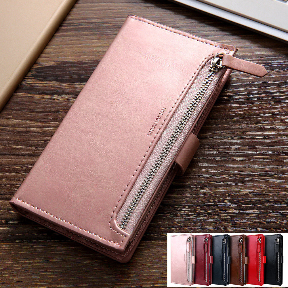 Samsung Galaxy S8 Plus Zipper Leather Wallet Card Magnetic Case Cover-Wine