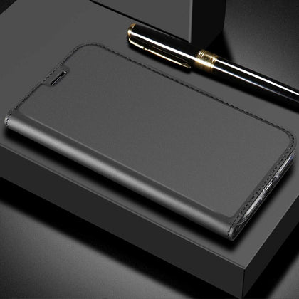 For Huawei Nova 3E Case Luxury Magnetic Leather Wallet Stand Cover-Black