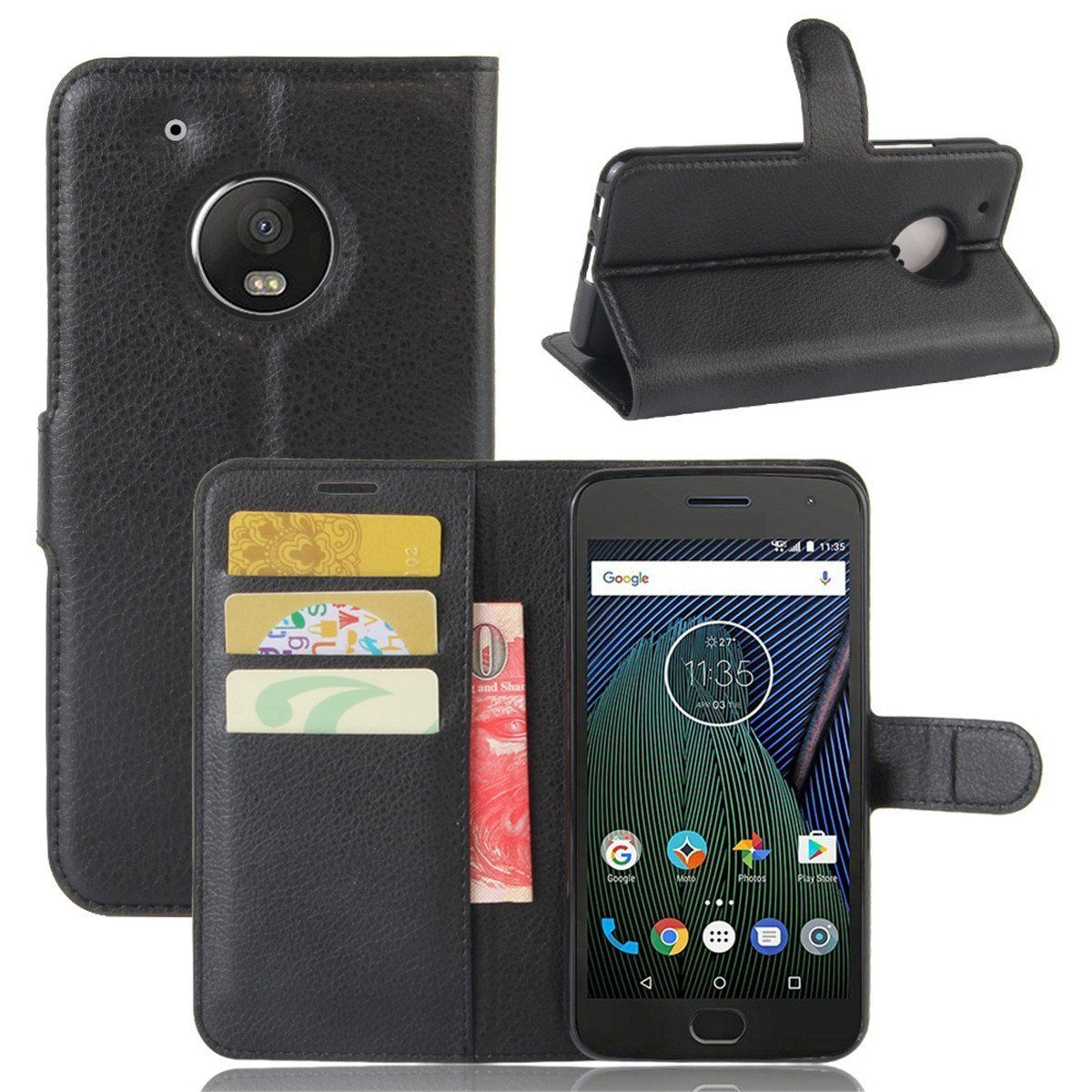 Moto G5S Case Cover Wallet Flip Leather
