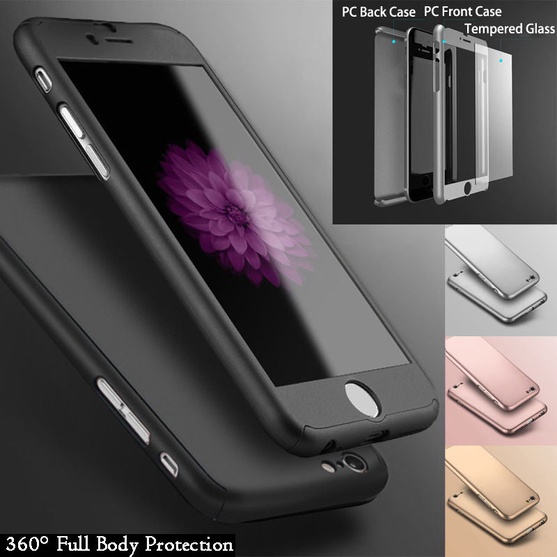 iPhone 6 Full Body Shockproof Case Cover + Tempered Glass-Black