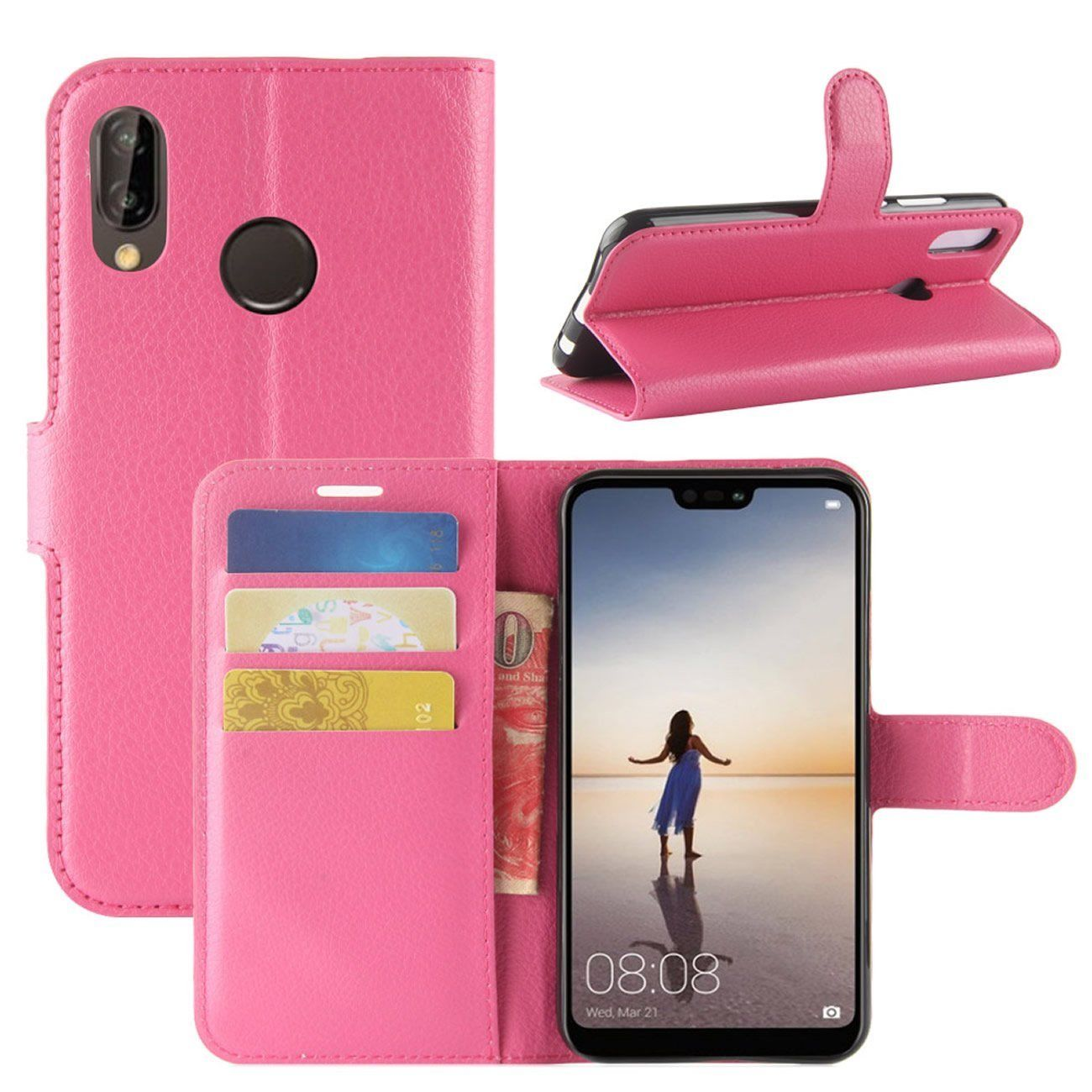 New Premium Leather Wallet Case TPU Cover For HUAWEI Nova 3i-Hot Pink