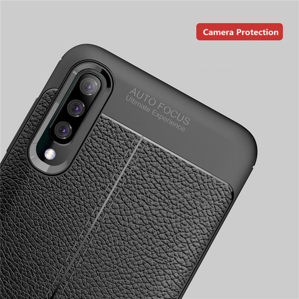 For Samsung A30 Luxury Ultra Slim Leather Rubber Shockproof Case Cover