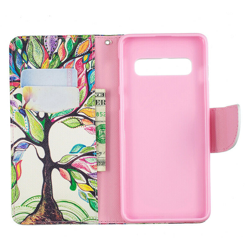 Samsung Galaxy S10 Patterned Flip Leather Wallet Stand Case Cover-Life Tree