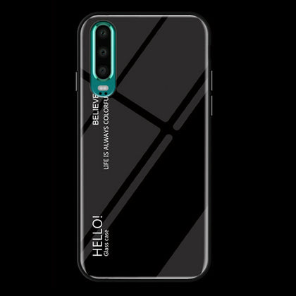 For Huawei Nova 3e Case Shockproof Tempered Glass Bumper Slim Cover-Black