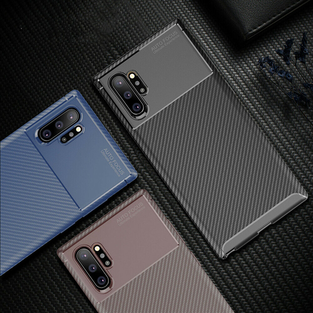 For Samsung Galaxy Note 10 Plus 5G Carbon Fiber Rubber Case TPU Slim Matte Cover