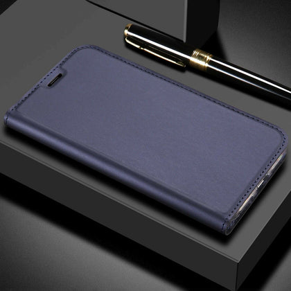 For Huawei Nova 3E Case Luxury Magnetic Leather Wallet Stand Cover-Dark Blue
