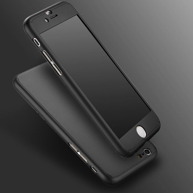 iPhone 7 Plus Full Body Shockproof Case Cover + Tempered Glass-Black