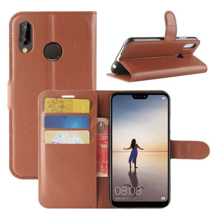 New Premium Leather Wallet Case TPU Cover For HUAWEI Nova 3i-Brown