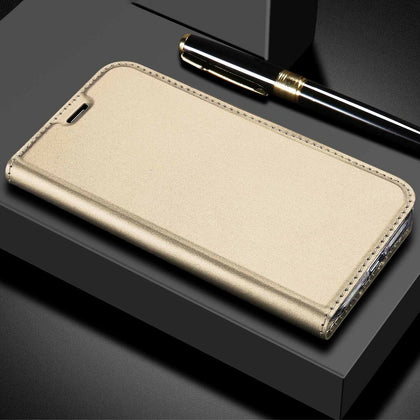 For Huawei Nova 3E Case Luxury Magnetic Leather Wallet Stand Cover-Gold