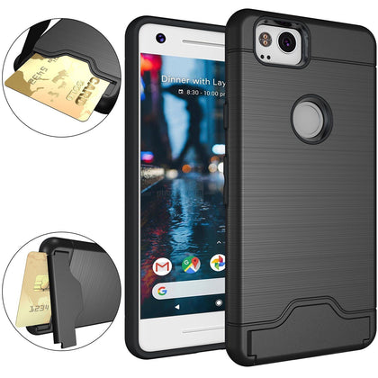 Google Pixel 2 Case Dual Layer Card Slot Kickstand Shockproof Rugged Cover