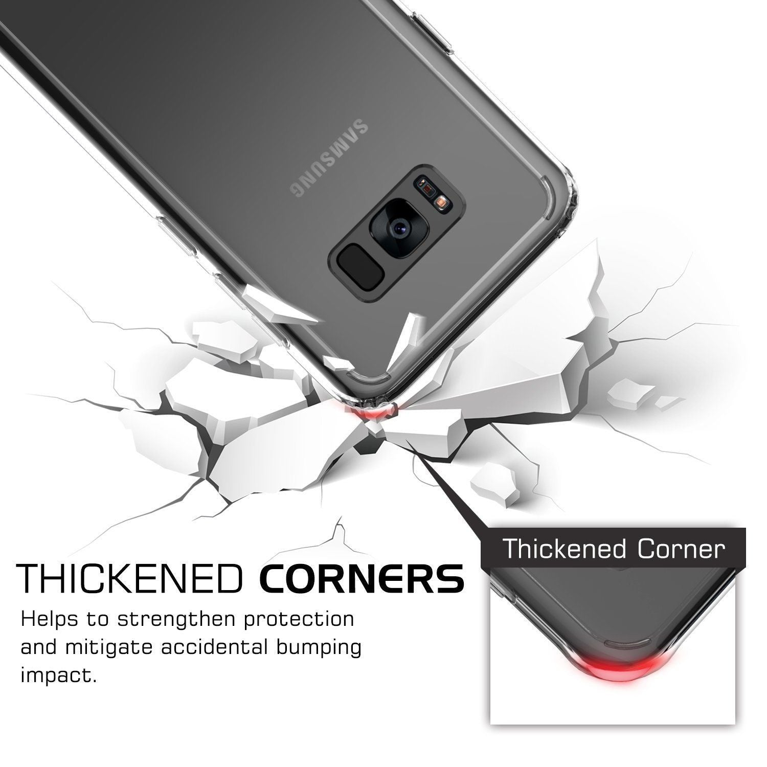 Galaxy S8 Plus Case Cover, Crystal Clear Slim Hybrid Anti Shock & Hard Back