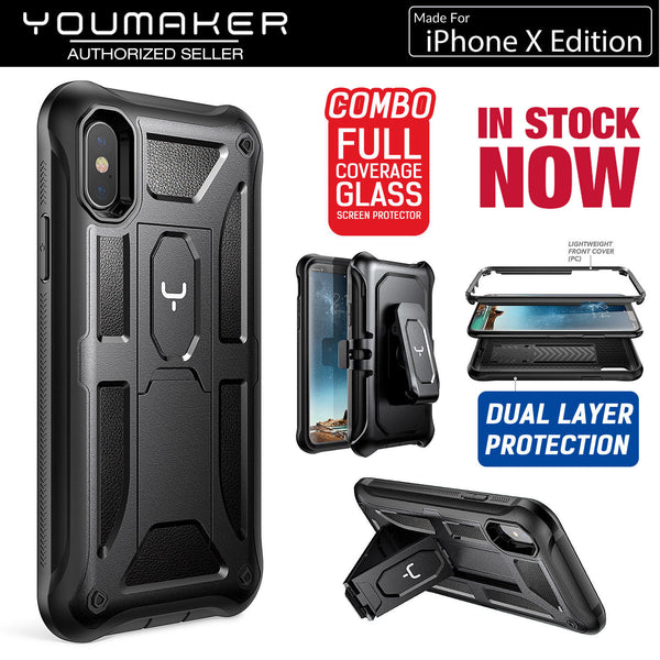 finest selection e5ed5 b61b5 YOUMAKER® APPLE iPhone X HEAVY DUTY Shockproof KickStand Case Cover (Black)
